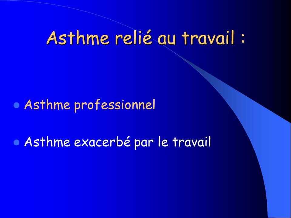 Asthme exacerbé par le travail 4 critères (ATS 2010) - Asthme préexistant, voire concomitant - Relation temporelle asthme/travail - Conditions de travail pouvant entraîner aggravation de lasthme (froid …) - Asthme professionnel improbable