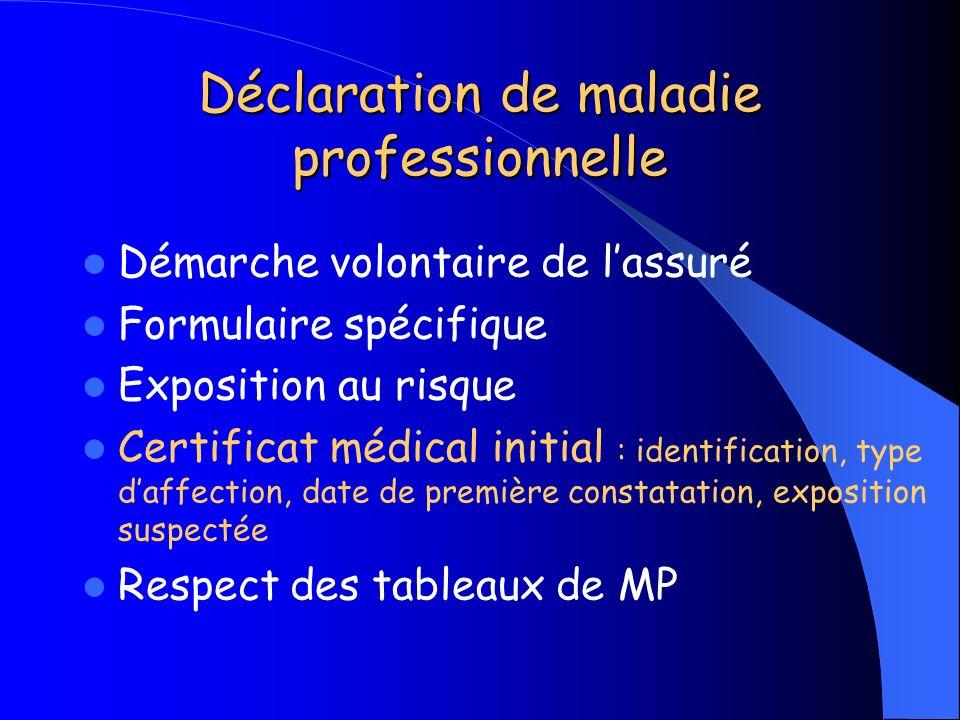 Déclaration de maladie professionnelle Démarche volontaire de lassuré Formulaire spécifique Exposition au risque Certificat médical initial : identifi