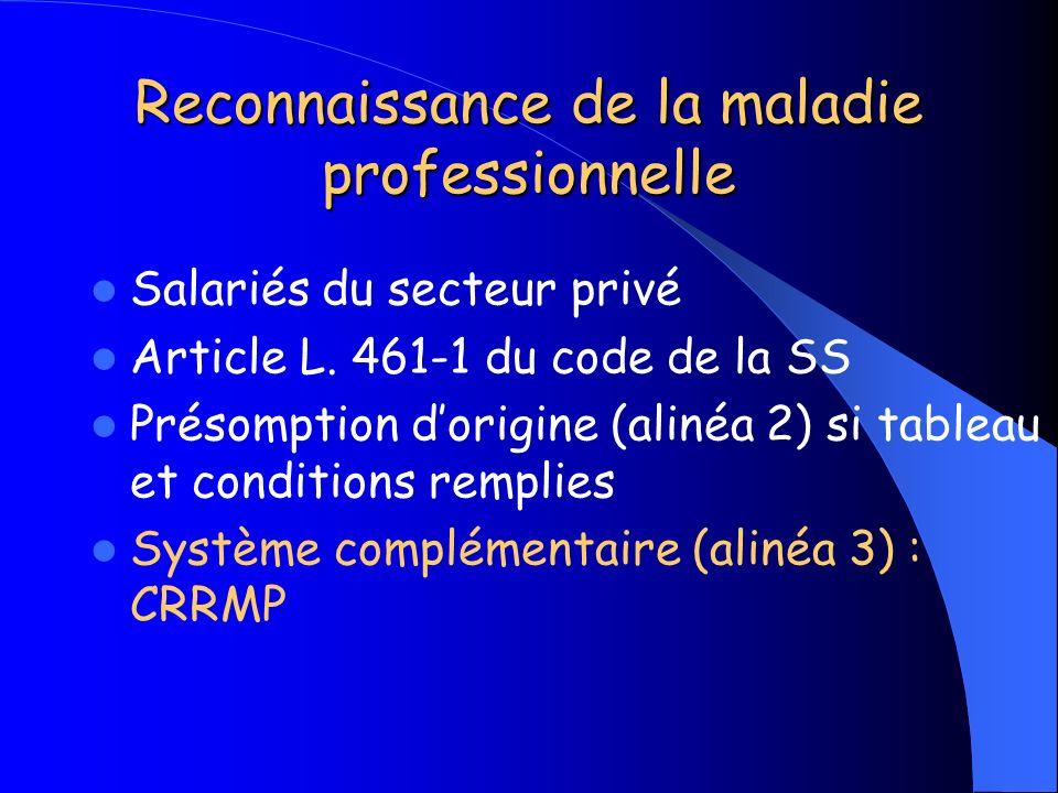 Reconnaissance de la maladie professionnelle Salariés du secteur privé Article L. 461-1 du code de la SS Présomption dorigine (alinéa 2) si tableau et