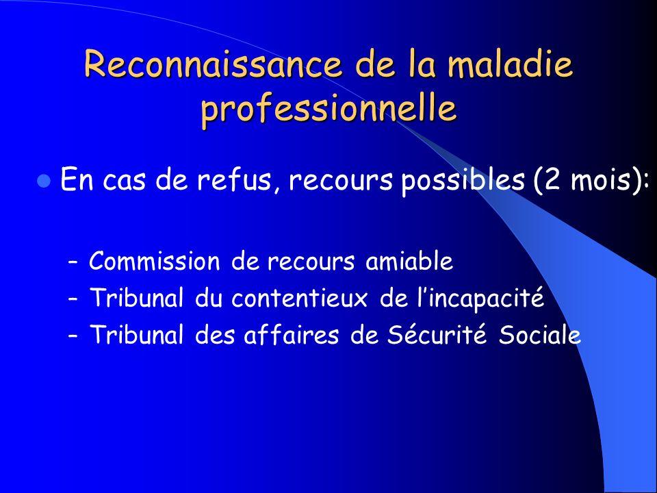 Reconnaissance de la maladie professionnelle En cas de refus, recours possibles (2 mois): – Commission de recours amiable – Tribunal du contentieux de