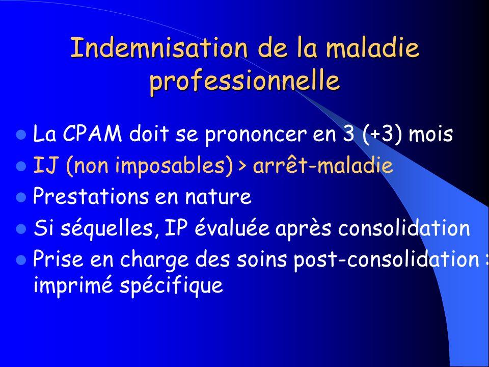 Indemnisation de la maladie professionnelle La CPAM doit se prononcer en 3 (+3) mois IJ (non imposables) > arrêt-maladie Prestations en nature Si séqu