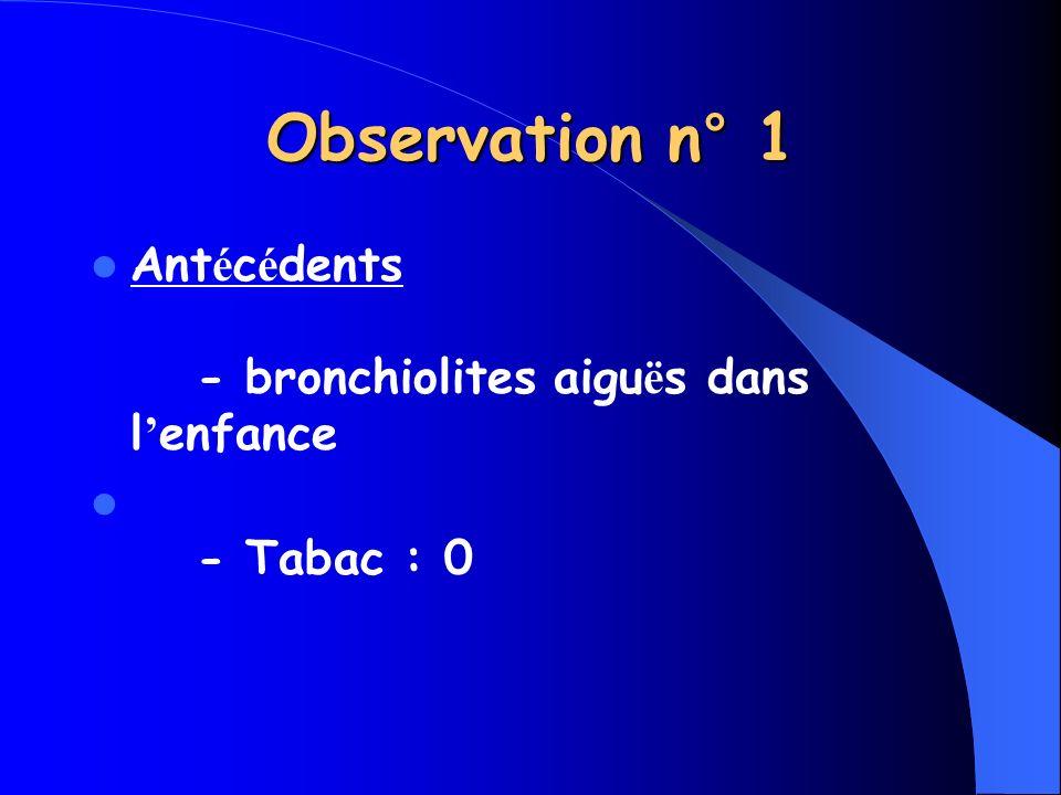 Ant é c é dents - bronchiolites aigu ë s dans l enfance - Tabac : 0 Observation n° 1