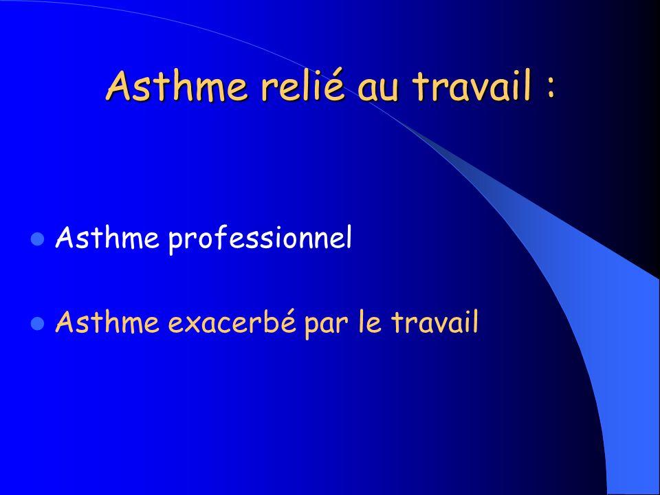 Asthme relié au travail : Asthme professionnel Asthme exacerbé par le travail