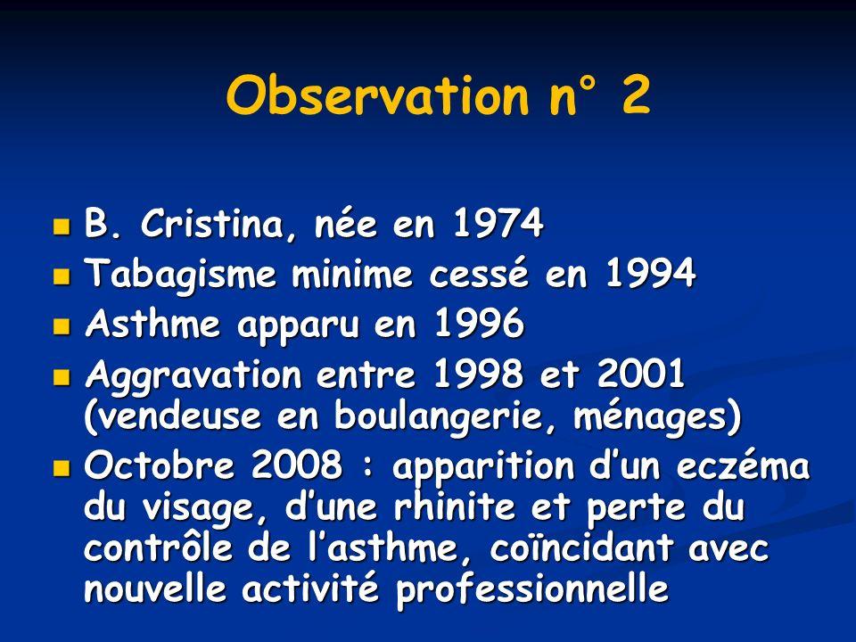 B. Cristina, née en 1974 B. Cristina, née en 1974 Tabagisme minime cessé en 1994 Tabagisme minime cessé en 1994 Asthme apparu en 1996 Asthme apparu en