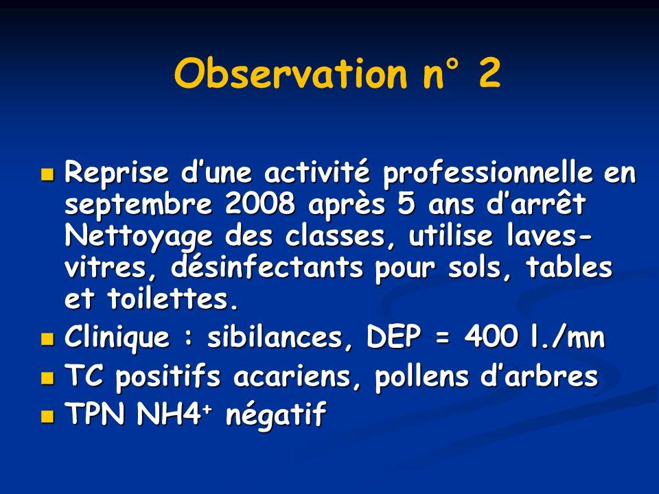 Reprise dune activité professionnelle en septembre 2008 après 5 ans darrêt Nettoyage des classes, utilise laves- vitres, désinfectants pour sols, tabl
