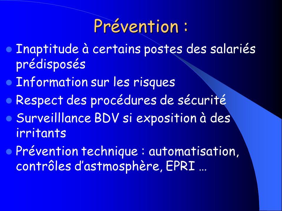 Prévention : Inaptitude à certains postes des salariés prédisposés Information sur les risques Respect des procédures de sécurité Surveilllance BDV si