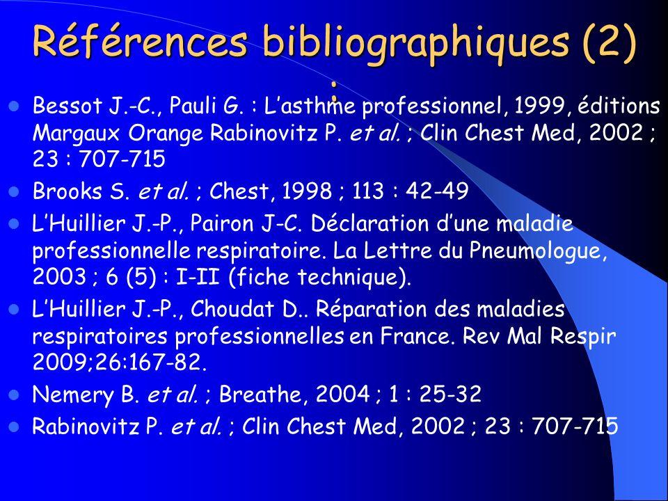 Bessot J.-C., Pauli G. : Lasthme professionnel, 1999, éditions Margaux Orange Rabinovitz P. et al. ; Clin Chest Med, 2002 ; 23 : 707-715 Brooks S. et