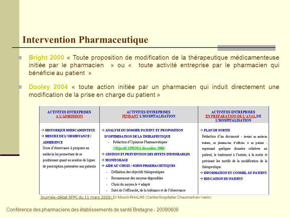 Bright 2000 « Toute proposition de modification de la thérapeutique médicamenteuse initiée par le pharmacien » ou « toute activité entreprise par le pharmacien qui bénéficie au patient » Dooley 2004 « toute action initiée par un pharmacien qui induit directement une modification de la prise en charge du patient » Intervention Pharmaceutique Conférence des pharmaciens des établissements de santé Bretagne - 20090609 Journée-débat SFPC du 11 mars 2009: Dr Mounir RHALIMI (Centre Hospitalier Chaumont-en-Vexin)