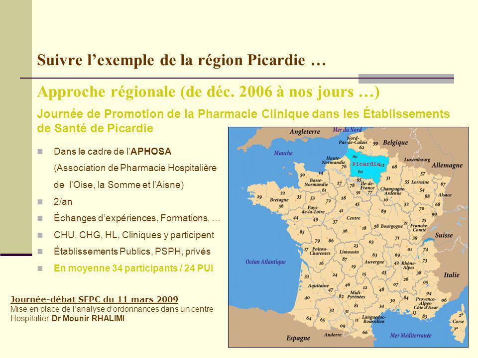Suivre lexemple de la région Picardie … Journée-débat SFPC du 11 mars 2009 Mise en place de lanalyse dordonnances dans un centre Hospitalier.