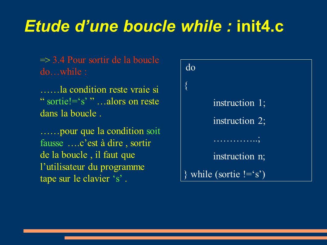 Etude dune boucle while : init4.c => 3.4 Pour sortir de la boucle do…while : ……la condition reste vraie si sortie!=s …alors on reste dans la boucle. …