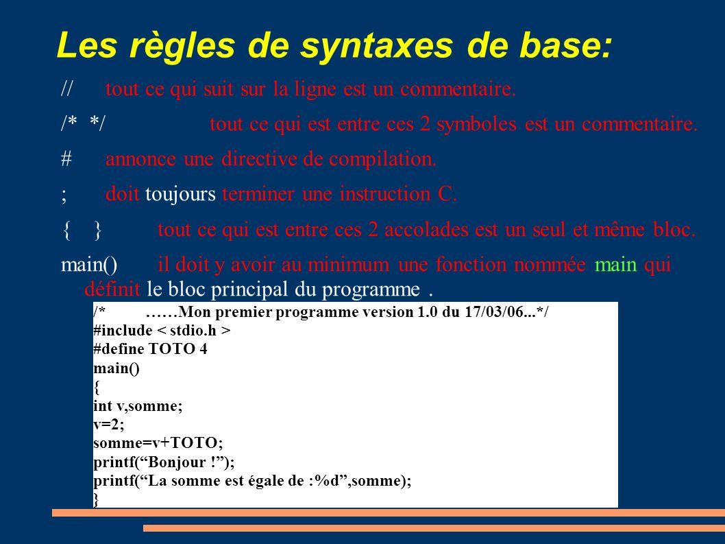 Les règles de syntaxes de base: //tout ce qui suit sur la ligne est un commentaire. /* */tout ce qui est entre ces 2 symboles est un commentaire. #ann