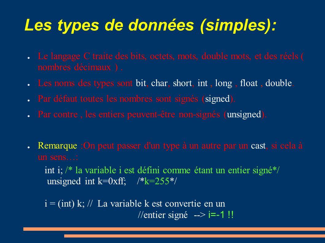 Les types de données (simples): Le langage C traite des bits, octets, mots, double mots, et des réels ( nombres décimaux ). Les noms des types sont bi