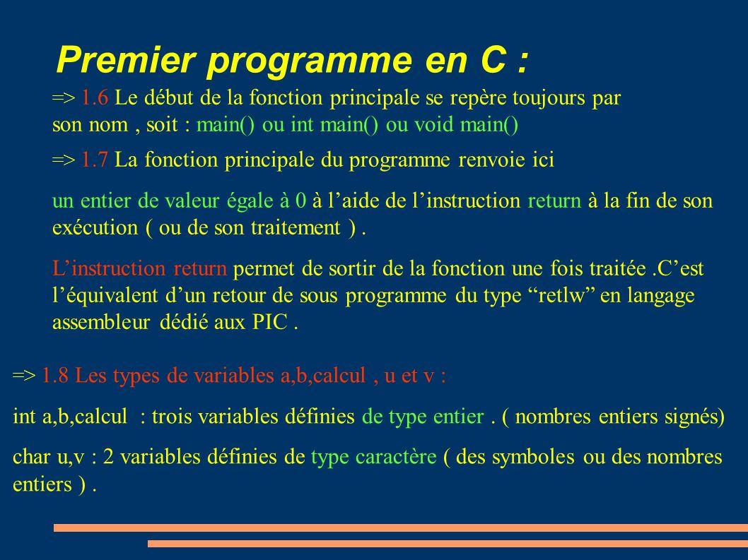 Premier programme en C : => 1.6 Le début de la fonction principale se repère toujours par son nom, soit : main() ou int main() ou void main() => 1.8 L