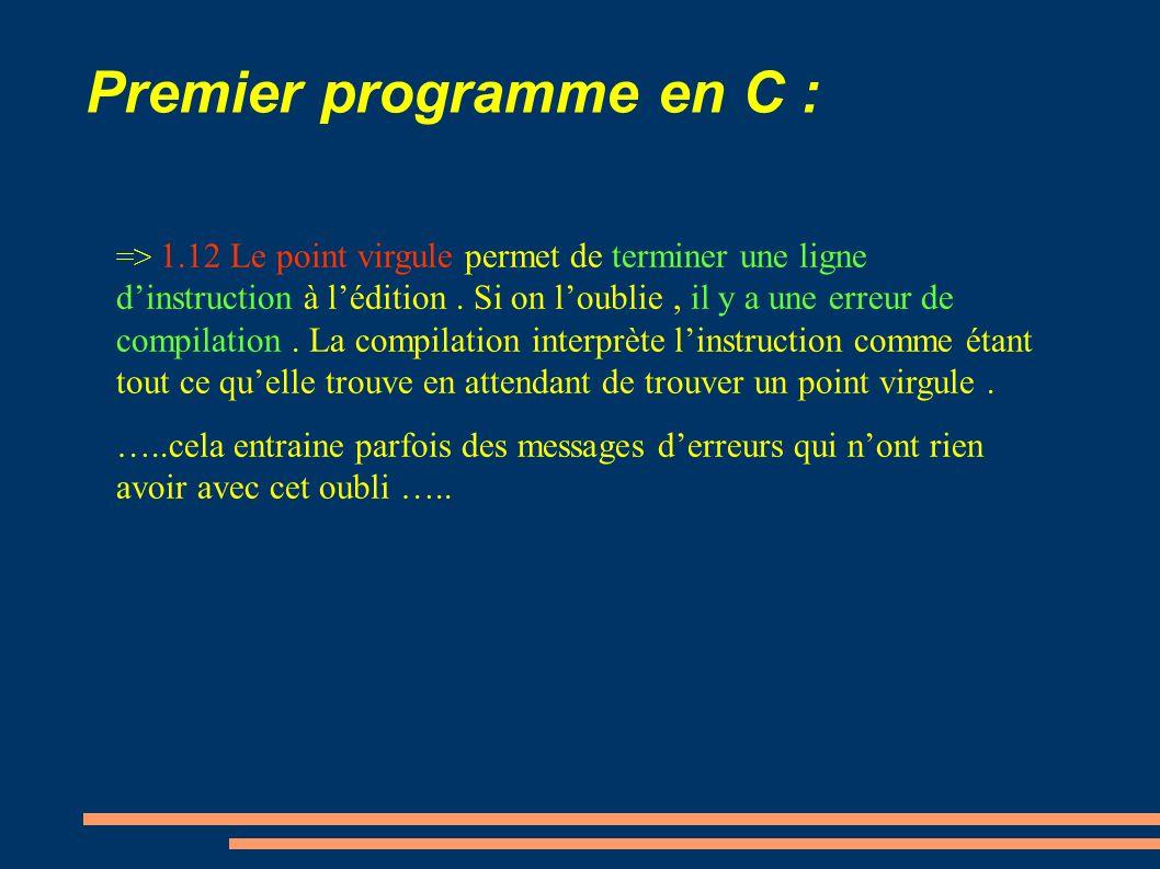 Premier programme en C : => 1.12 Le point virgule permet de terminer une ligne dinstruction à lédition. Si on loublie, il y a une erreur de compilatio