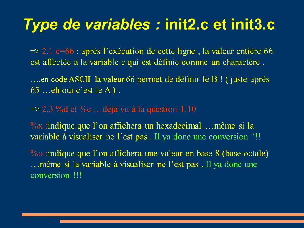Type de variables : init2.c et init3.c => 2.1 c=66 : après lexécution de cette ligne, la valeur entière 66 est affectée à la variable c qui est défini