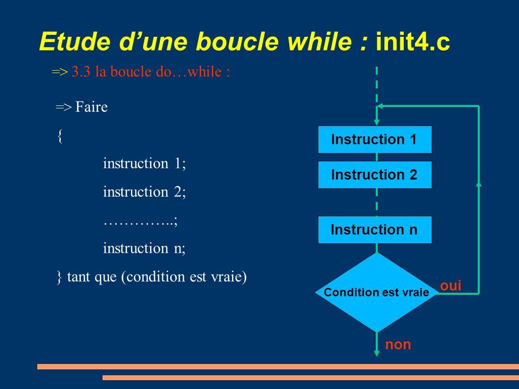 Etude dune boucle while : init4.c => 3.3 la boucle do…while : => Faire { instruction 1; instruction 2; …………..; instruction n; } tant que (condition es