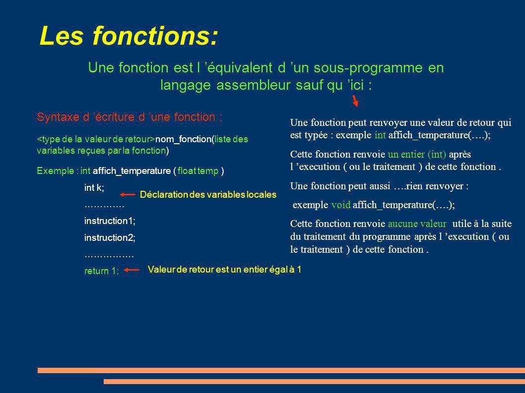 Les fonctions: Une fonction est l équivalent d un sous-programme en langage assembleur sauf qu ici : Une fonction peut renvoyer une valeur de retour q