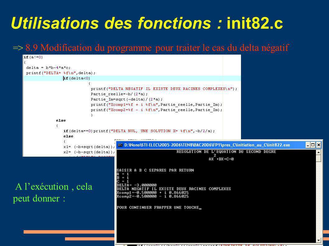 Utilisations des fonctions : init82.c => 8.9 Modification du programme pour traiter le cas du delta négatif A lexécution, cela peut donner :