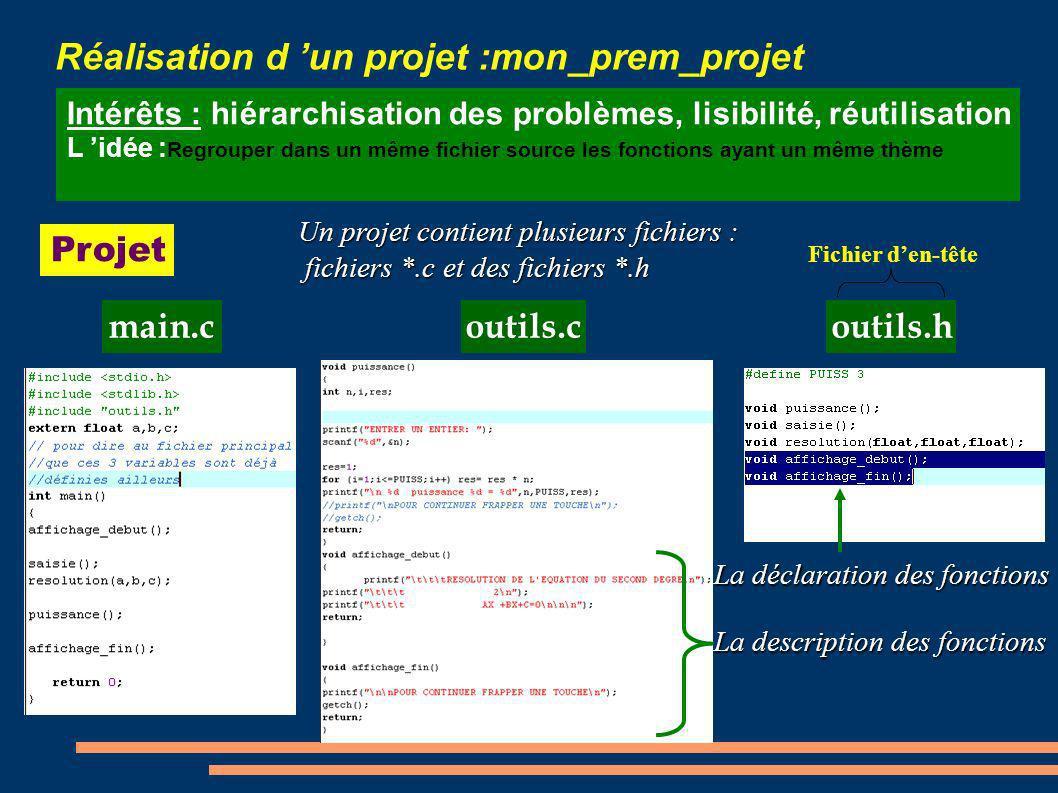 Réalisation d un projet :mon_prem_projet Intérêts : hiérarchisation des problèmes, lisibilité, réutilisation L idée : Regrouper dans un même fichier s