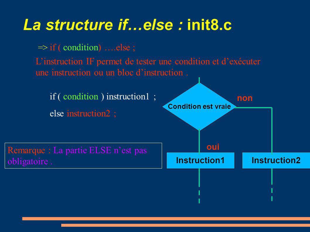 La structure if…else : init8.c => if ( condition) ….else ; if ( condition ) instruction1 ; else instruction2 ; Linstruction IF permet de tester une co