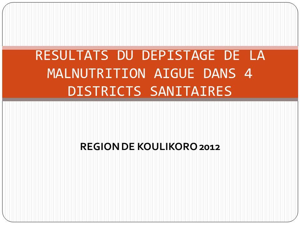 REGION DE KOULIKORO 2012 RESULTATS DU DEPISTAGE DE LA MALNUTRITION AIGUE DANS 4 DISTRICTS SANITAIRES