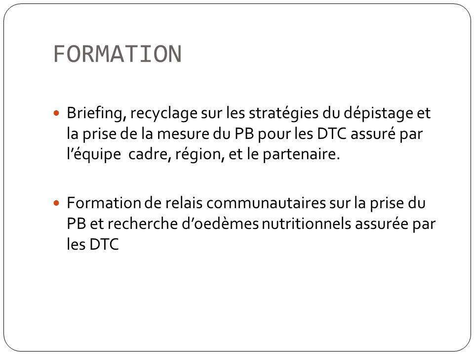 FORMATION Briefing, recyclage sur les stratégies du dépistage et la prise de la mesure du PB pour les DTC assuré par léquipe cadre, région, et le part