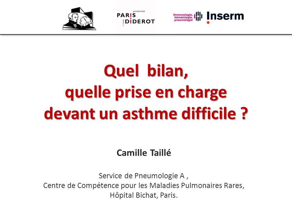 Quel bilan, quelle prise en charge devant un asthme difficile ? Camille Taillé Service de Pneumologie A, Centre de Compétence pour les Maladies Pulmon