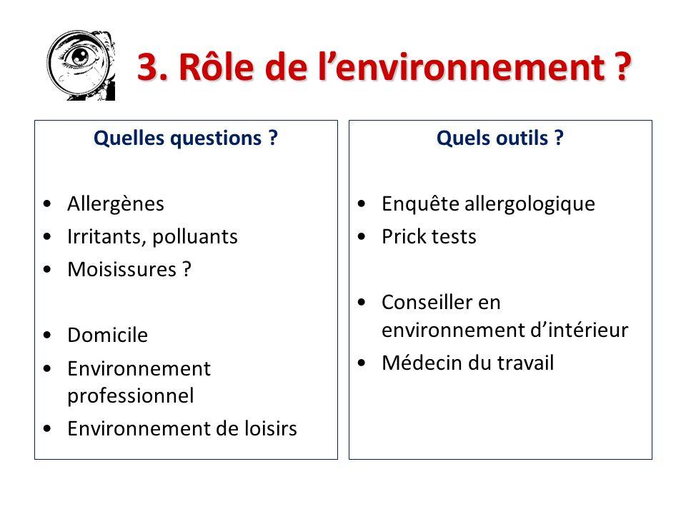 Quelles questions ? Allergènes Irritants, polluants Moisissures ? Domicile Environnement professionnel Environnement de loisirs Quels outils ? Enquête
