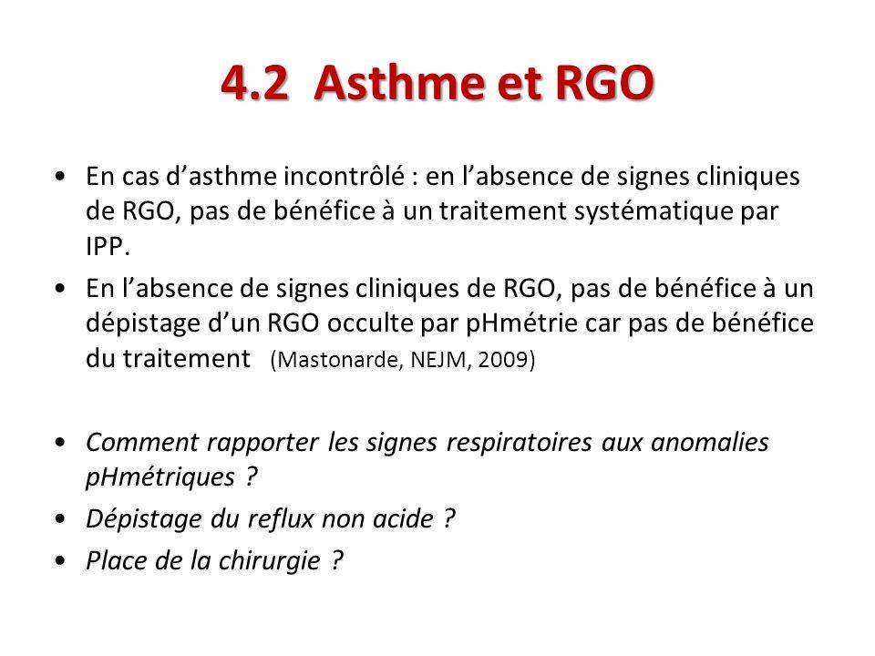 En cas dasthme incontrôlé : en labsence de signes cliniques de RGO, pas de bénéfice à un traitement systématique par IPP. En labsence de signes cliniq