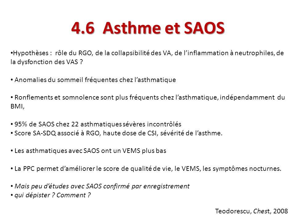 4.6 Asthme et SAOS Hypothèses : rôle du RGO, de la collapsibilité des VA, de linflammation à neutrophiles, de la dysfonction des VAS ? Anomalies du so