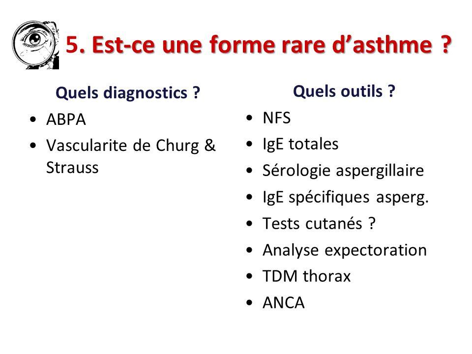. Est-ce une forme rare dasthme ? 5. Est-ce une forme rare dasthme ? Quels outils ? NFS IgE totales Sérologie aspergillaire IgE spécifiques asperg. Te