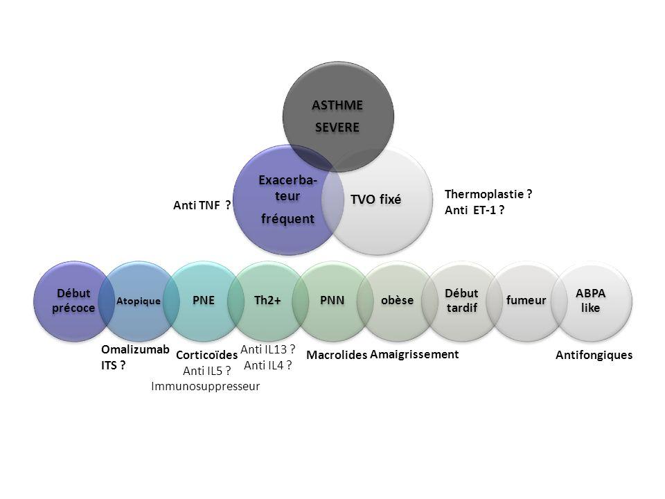 Omalizumab ITS ? Corticoïdes Anti IL5 ? Immunosuppresseur Anti IL13 ? Anti IL4 ? Amaigrissement AntifongiquesMacrolides Anti TNF ? Thermoplastie ? Ant