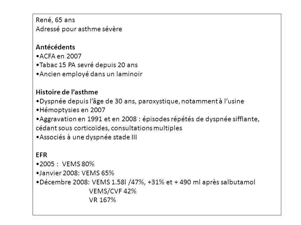 René, 65 ans Adressé pour asthme sévère Antécédents ACFA en 2007 Tabac 15 PA sevré depuis 20 ans Ancien employé dans un laminoir Histoire de lasthme D