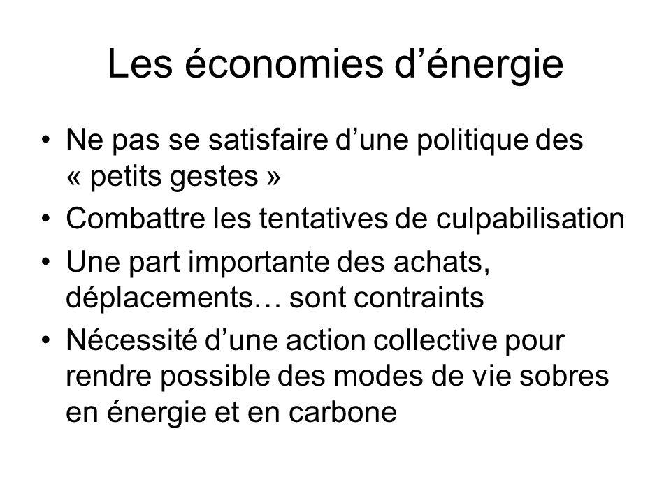 Les économies dénergie Ne pas se satisfaire dune politique des « petits gestes » Combattre les tentatives de culpabilisation Une part importante des achats, déplacements… sont contraints Nécessité dune action collective pour rendre possible des modes de vie sobres en énergie et en carbone