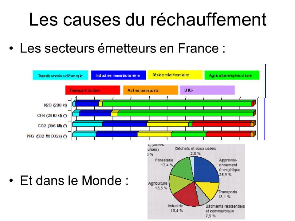 Les causes du réchauffement Les secteurs émetteurs en France : Et dans le Monde :