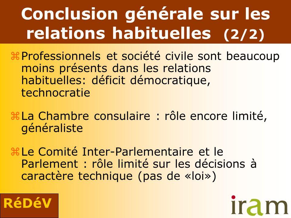 RéDéV Conclusion générale sur les relations habituelles (2/2) zProfessionnels et société civile sont beaucoup moins présents dans les relations habitu