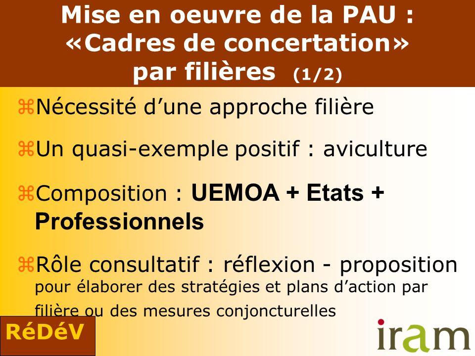 RéDéV Mise en oeuvre de la PAU : «Cadres de concertation» par filières (1/2) zNécessité dune approche filière zUn quasi-exemple positif : aviculture C