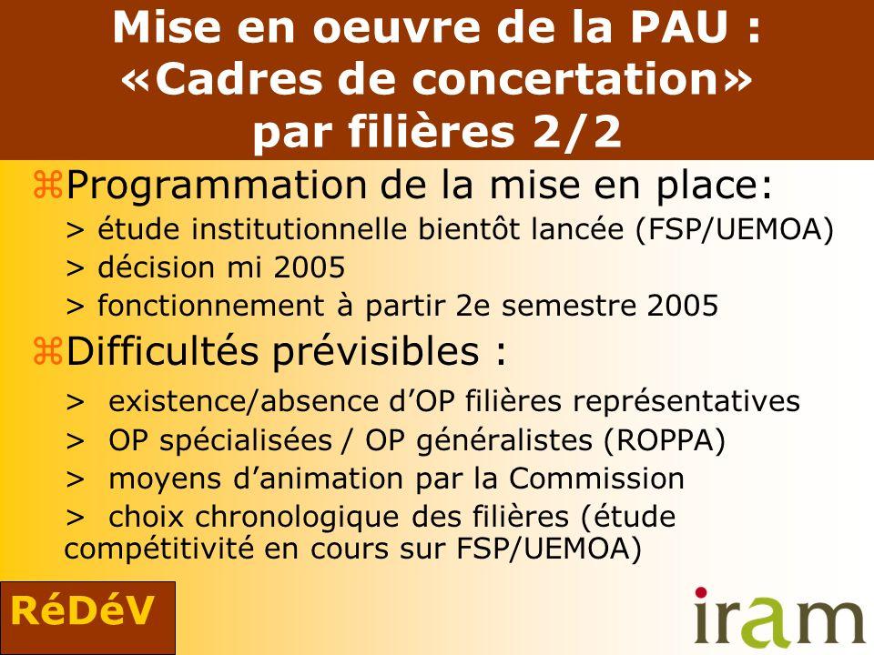 RéDéV Mise en oeuvre de la PAU : «Cadres de concertation» par filières 2/2 zProgrammation de la mise en place: > étude institutionnelle bientôt lancée