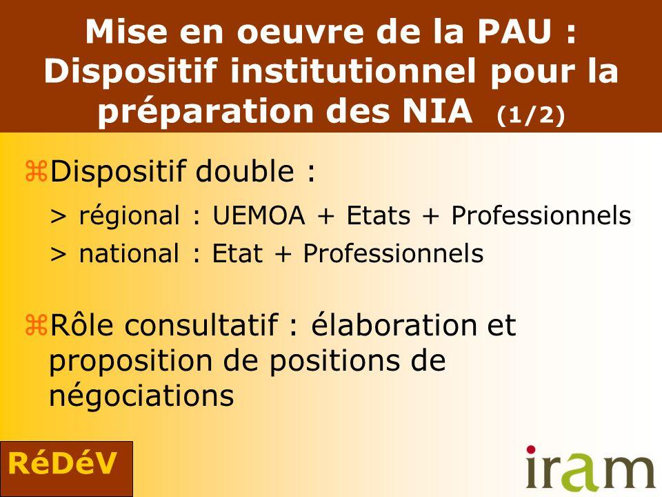 RéDéV Mise en oeuvre de la PAU : Dispositif institutionnel pour la préparation des NIA (1/2) zDispositif double : > régional : UEMOA + Etats + Profess