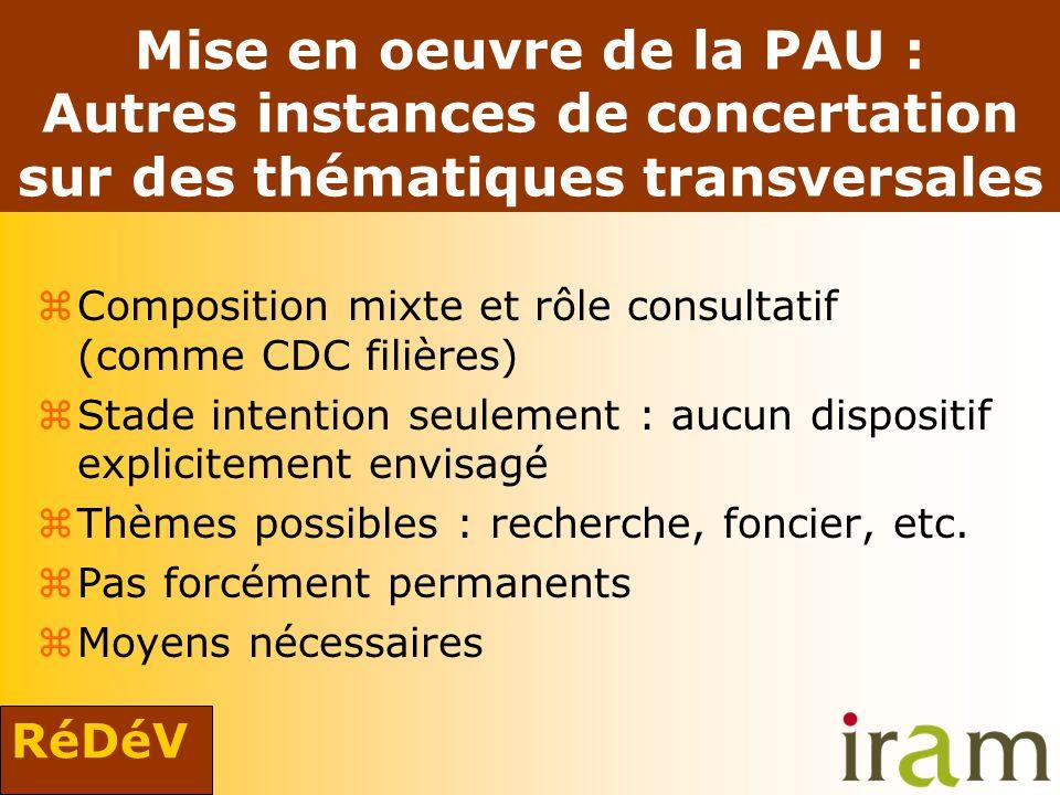 RéDéV Mise en oeuvre de la PAU : Autres instances de concertation sur des thématiques transversales zComposition mixte et rôle consultatif (comme CDC