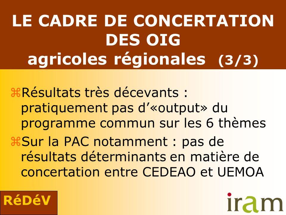 RéDéV LE CADRE DE CONCERTATION DES OIG agricoles régionales (3/3) zRésultats très décevants : pratiquement pas d«output» du programme commun sur les 6 thèmes zSur la PAC notamment : pas de résultats déterminants en matière de concertation entre CEDEAO et UEMOA