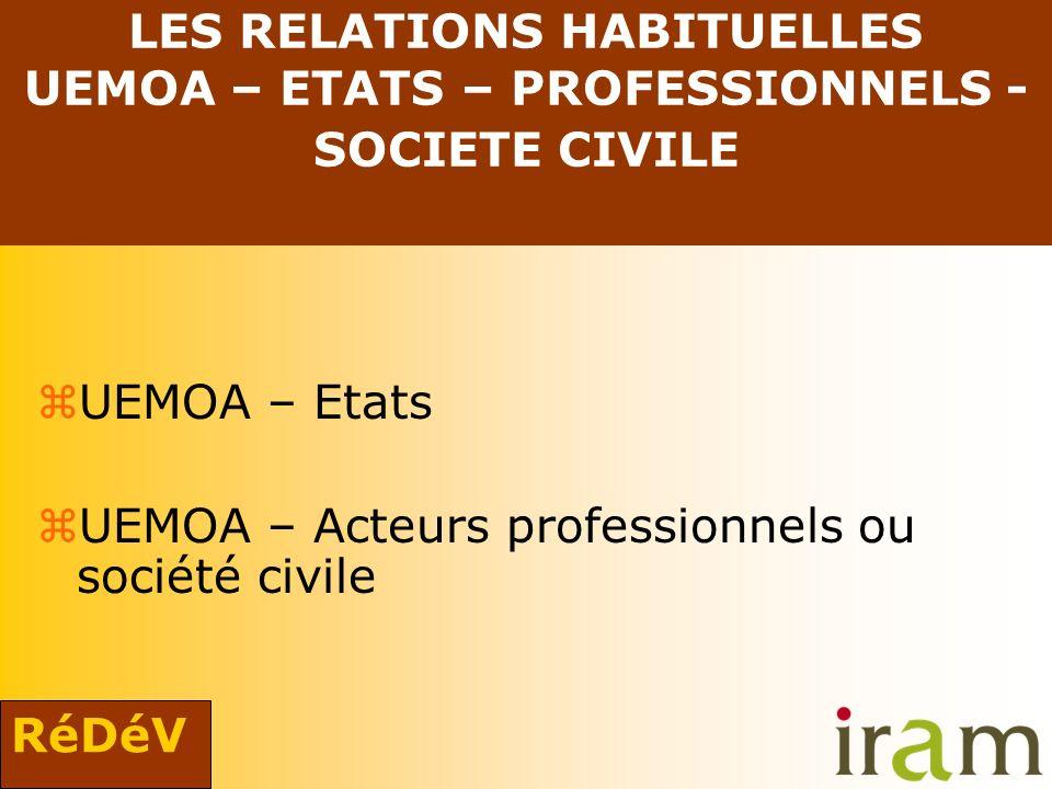 RéDéV LES RELATIONS HABITUELLES UEMOA – ETATS – PROFESSIONNELS - SOCIETE CIVILE zUEMOA – Etats zUEMOA – Acteurs professionnels ou société civile