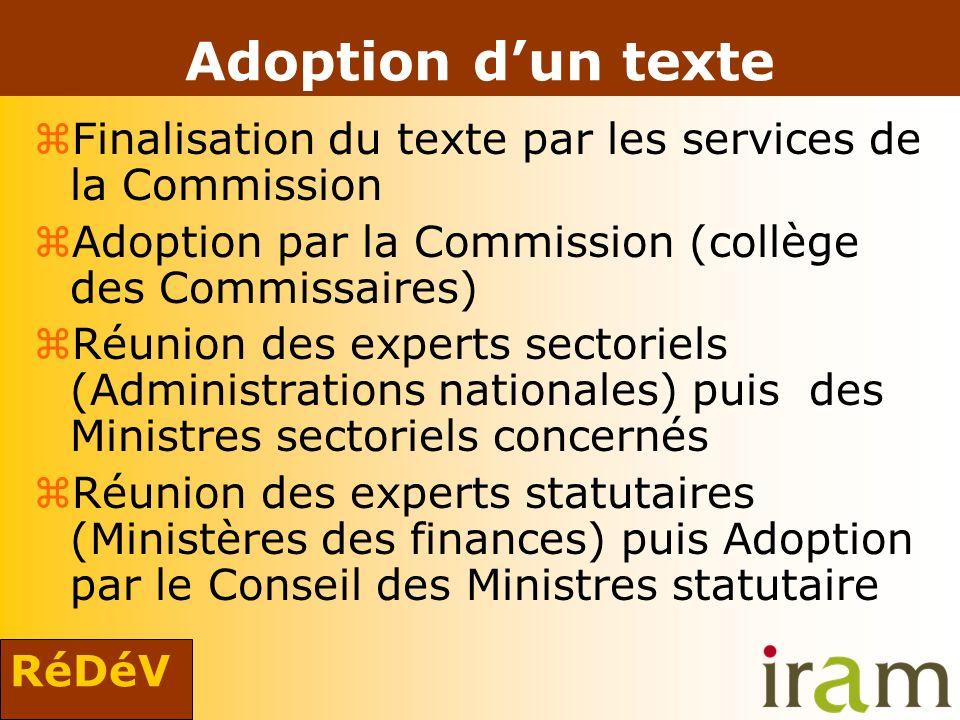 RéDéV Adoption dun texte zFinalisation du texte par les services de la Commission zAdoption par la Commission (collège des Commissaires) zRéunion des