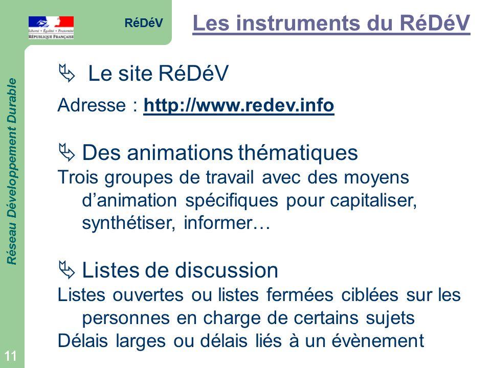 RéDéV Réseau Développement Durable 11 RéDéV Réseau Développement Durable 11 Les instruments du RéDéV Le site RéDéV Adresse : http://www.redev.info Des