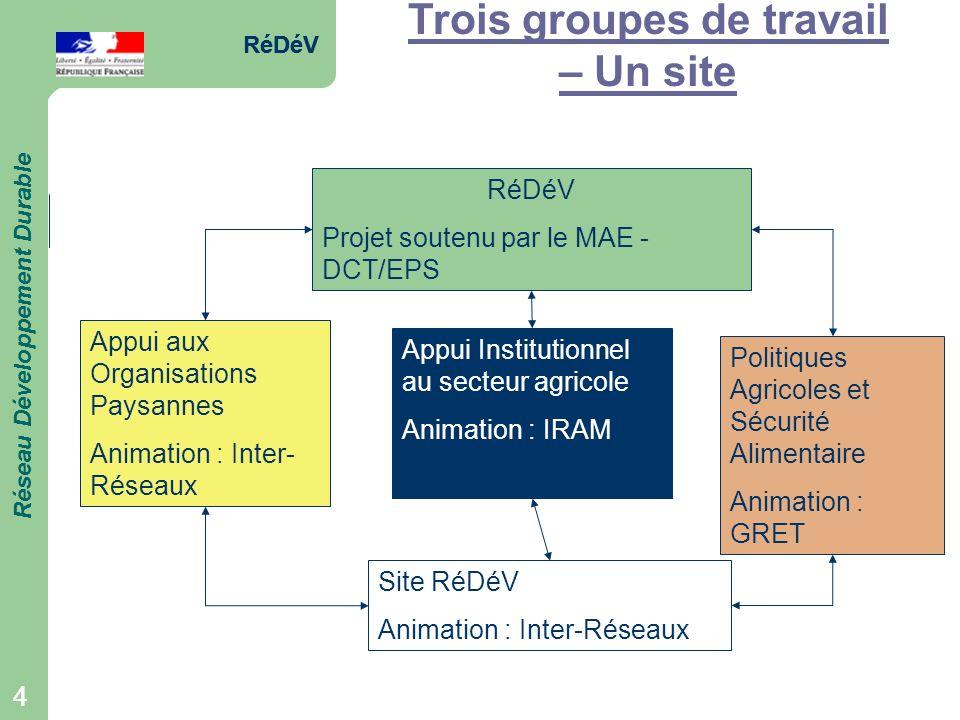 RéDéV Réseau Développement Durable 4 RéDéV Réseau Développement Durable 4 Trois groupes de travail – Un site RéDéV Projet soutenu par le MAE - DCT/EPS