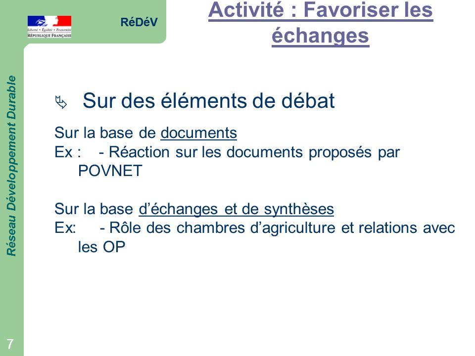 RéDéV Réseau Développement Durable 7 RéDéV Réseau Développement Durable 7 Activité : Favoriser les échanges Sur des éléments de débat Sur la base de d