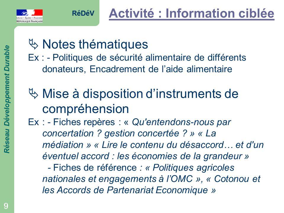 RéDéV Réseau Développement Durable 9 RéDéV Réseau Développement Durable 9 Activité : Information ciblée Notes thématiques Ex : - Politiques de sécurit