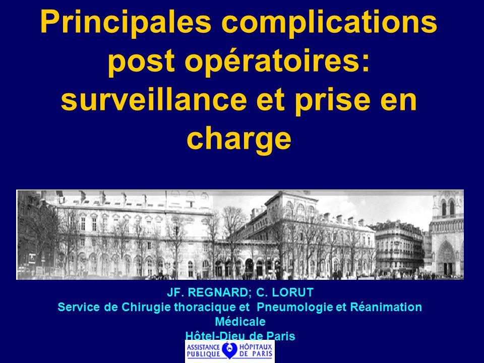JF. REGNARD; C. LORUT Service de Chirugie thoracique et Pneumologie et Réanimation Médicale Hôtel-Dieu de Paris Principales complications post opérato