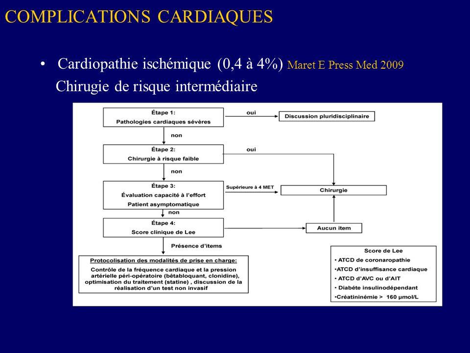 COMPLICATIONS CARDIAQUES Cardiopathie ischémique (0,4 à 4%) Maret E Press Med 2009 Chirugie de risque intermédiaire