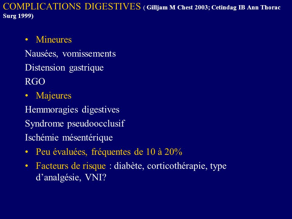 COMPLICATIONS DIGESTIVES ( Gilljam M Chest 2003; Cetindag IB Ann Thorac Surg 1999) Mineures Nausées, vomissements Distension gastrique RGO Majeures He